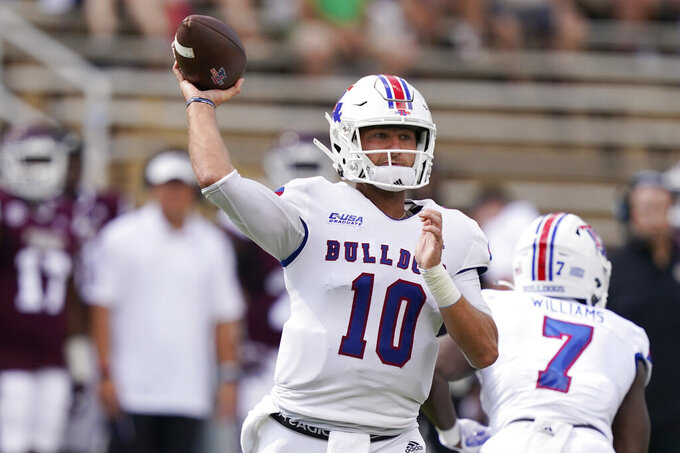 Louisiana Tech quarterback Austin Kendall (10) passes against Mississippi State during the first half of an NCAA college football game in Starkville, Miss., Saturday, Sept. 4, 2021. (AP Photo/Rogelio V. Solis)