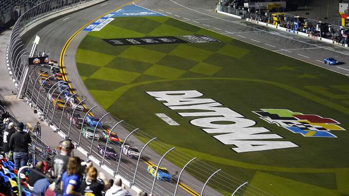 Drivers take the green flag to start the NASCAR Daytona Clash auto race Tuesday, Feb. 9, 2021, at Daytona International Speedway in Daytona Beach, Fla. (AP Photo/Chris O'Meara)
