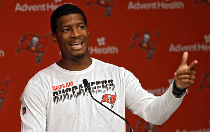 Tampa Bay Buccaneers quarterback Jameis Winston answers a question during a news conference before the start of an NFL football training camp Thursday, July 25, 2019, in Tampa, Fla. The Bucs open their training camp on Friday. (AP Photo/Chris O'Meara)