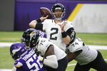 Jacksonville Jaguars quarterback Mike Glennon throws a pass during the first half of an NFL football game against the Minnesota Vikings, Sunday, Dec. 6, 2020, in Minneapolis. (AP Photo/Bruce Kluckhohn)