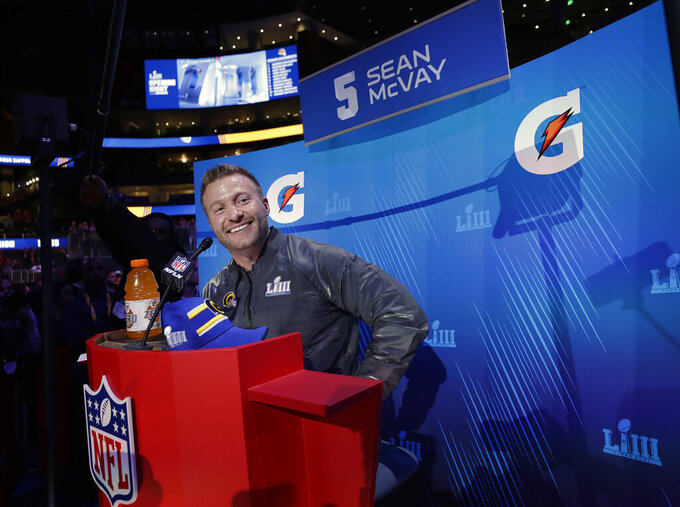 Los Angeles Rams head coach Sean McVay smiles during Opening Night for the NFL Super Bowl 53 football game, Monday, Jan. 28, 2019, in Atlanta. (AP Photo/David J. Phillip)