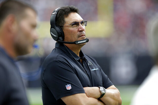 FILE - In this Sept. 29, 2019, file photo, Carolina Panthers head coach Ron Rivera watches during the second half of an NFL football game against the Houston Texans in Houston. The Washington Redskins have hired Rivera as their new coach on Wednesday, Jan. 1, 2020. (AP Photo/Michael Wyke, File)
