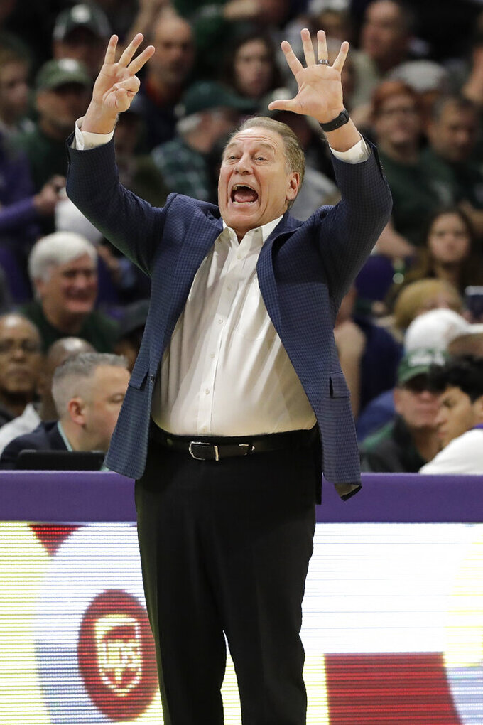 Michigan State head coach Tom Izzo instructs his team during the first half of an NCAA college basketball game against Northwestern, Wednesday, Dec. 18, 2019, in Evanston, Ill. (AP Photo/Nam Y. Huh)