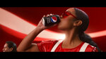 "This undated image provided by PepsiCo shows H.E.R. in a scene from the company's 2020 Super Bowl NFL football spot. Pepsi tries to reignite the Cola Wars with Missy Elliott and H.E.R. performing an updated version of ""Paint it Black"" that starts with a red cola can that looks like a Coke changing into a black can of Pepsi Zero Sugar to the lyrics of ""I see a red door and I want it painted black.""(PepsiCo via AP)"