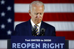 Democratic presidential candidate former Vice President Joe Biden pauses while speaking Wednesday, June 17, 2020, in Darby, Pa. (AP Photo/Matt Slocum)