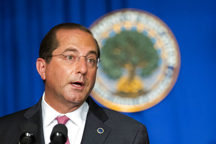 Department of Health and Human Services Secretary Alex Azar speaks during a White House Coronavirus Task Force briefing at the Department of Education building Wednesday, July 8, 2020, in Washington. (AP Photo/Manuel Balce Ceneta)
