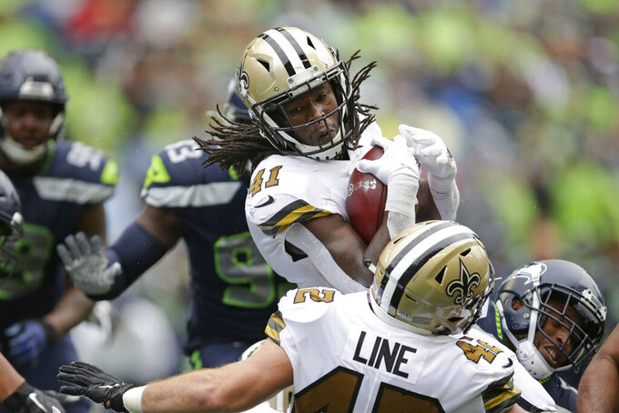 New Orleans Saints' Alvin Kamara (41) carries against the Seattle Seahawks during the second half of an NFL football game, Sunday, Sept. 22, 2019, in Seattle. The Saints won 33-27. (AP Photo/Scott Eklund)