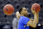 Kentucky's PJ Washington shoots during practice for the NCAA men's college basketball tournament Thursday, March 28, 2019, in Kansas City, Mo. Kentucky plays Houston in a Midwest Regional semifinal game on Friday. (AP Photo/Charlie Riedel)