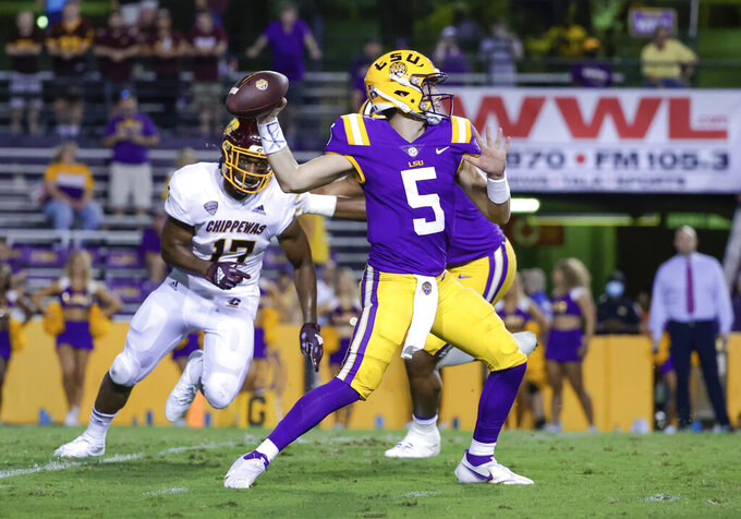 LSU quarterback Garrett Nussmeier (5) throws against Central Michigan during the second half of an NCAA college football game in Baton Rouge, La,. Saturday, Sept. 18, 2021. (AP Photo/Derick Hingle)