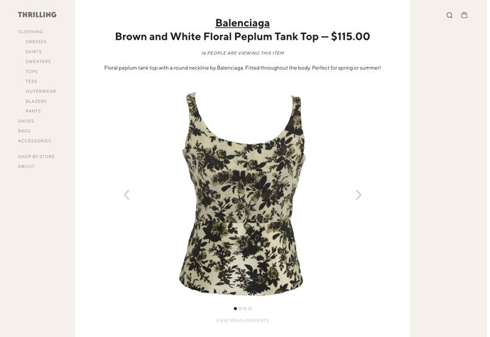 CORRECTS SITE TO SHOPTHRILLING.COM - This image released by Thrilling shows a floral tank top by Balenciaga, part of a collection offered on the e-commerce site ShopThrilling.com. Celebrity stylist Ali Mandelkorn has teamed with Goodwill of Southern California on a collection of thrift pulls to benefit employment programs for the disabled and disadvantaged. The collection went on sale Friday at Thrilling, an online platform for vintage and thrift stores around the U.S. (Thrilling via AP)