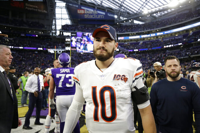 Chicago Bears quarterback Mitchell Trubisky walks off the field after an NFL football game against the Minnesota Vikings, Sunday, Dec. 29, 2019, in Minneapolis. The Bears won 21-19. (AP Photo/Andy Clayton-King)