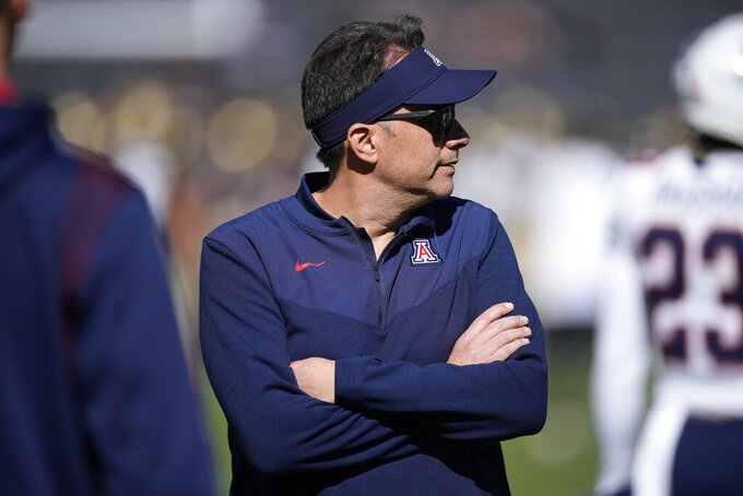 Arizona head coach Jedd Fisch looks on in the second half of an NCAA college football game against Colorado, Saturday, Oct. 16, 2021, in Boulder, Colo. (AP Photo/David Zalubowski)