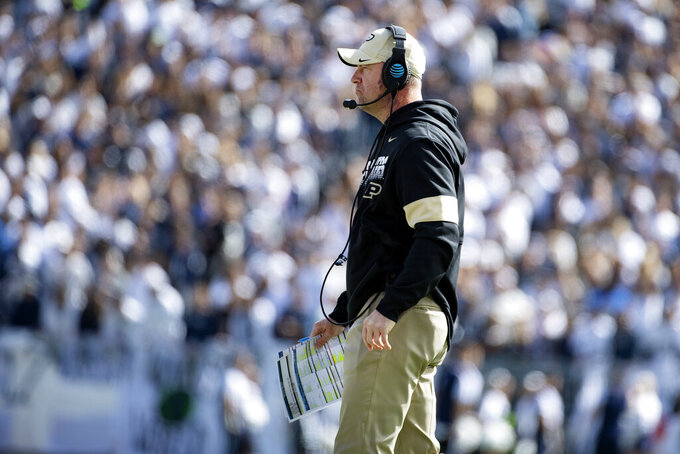 Purdue head coach Jeff Brohm watches the action against Penn State in the third quarter of an NCAA college football game in State College, Pa., on Saturday, Oct. 5, 2019. Penn State defeated Purdue 35-7. (AP Photo/Barry Reeger)