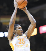 Tennessee's Yves Pons (35) puts up a shot against Arkansas in the Vols' 82-61 home win during an NCAA college basketball game, in Knoxville, Tenn., Tuesday, Feb. 11, 2020. (Scott Keller/The Daily Times via AP)