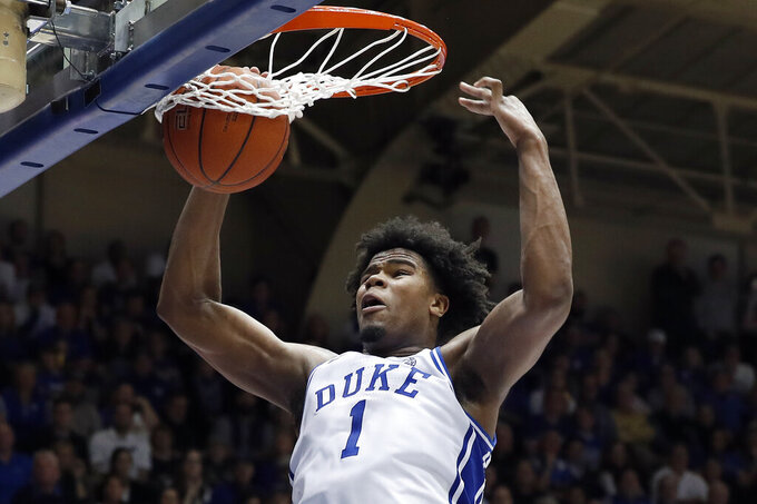 Duke center Vernon Carey Jr. (1) dunks against North Carolina during the second half of an NCAA college basketball game in Durham, N.C., Saturday, March 7, 2020. (AP Photo/Gerry Broome)