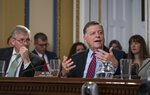 House Rules Committee member Rep. Tom Cole, R-Okla., joined at left by Rep. Rob Woodall, R-Ga., argue a point during the markup of the resolution that will formalize the next steps in the impeachment inquiry of President Donald Trump, at the Capitol in Washington, Wednesday, Oct. 30, 2019. Democrats have been investigating Trump's withholding of military aid to Ukraine as he pushed the country's new president to investigate Democrats and the family of rival presidential contender Joe Biden. (AP Photo/J. Scott Applewhite)