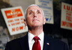Vice President Mike Pence takes a tour of the National Civil Rights Museum in Memphis Sunday, Jan. 19, 2020 during a one-day trip in honor of the Rev. Martin Luther King, Jr. (Joe Rondone/The Commercial Appeal via AP)