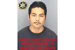 This undated booking photo released by the Merced County Sheriff's Office shows escapee inmate Gabriel Francis Coronado, from Atwater, Calif. Authorities in central California are searching for six inmates, including Coronado, who used a