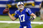 Indianapolis Colts quarterback Philip Rivers (17) throws against the Houston Texans in the first half of an NFL football game in Indianapolis, Sunday, Dec. 20, 2020. (AP Photo/Darron Cummings)