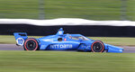 Alex Palou, of Spain, drives along the course during a practice session for the IndyCar auto race at Indianapolis Motor Speedway, Friday, Aug. 13, 2021, in Indianapolis. (AP Photo/Doug McSchooler)