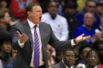 Kansas head coach Bill Self directs his team during the first half of an NCAA college basketball game against Milwaukee in Lawrence, Kan., Tuesday, Dec. 10, 2019. (AP Photo/Orlin Wagner)