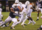Virginia defensive end Richard Burney (16) sacks Old Dominion quarterback Stone Smartt (4) during the third quarter of an NCAA college football game in Charlottesville, Va., Saturday, Sept. 21, 2019. (AP Photo/Andrew Shurtleff)