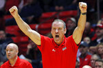 Utah head coach Larry Krystkowiak shouts to his team during the first half of an NCAA college basketball game against Washington, Thursday, Jan., 10, 2019, in Salt Lake City. (AP Photo/Rick Bowmer)