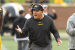 Missouri head coach Barry Odom argues a call during the second quarter of an NCAA college football game against Troy Saturday, Oct. 5, 2019, in Columbia, Mo. (AP Photo/L.G. Patterson)