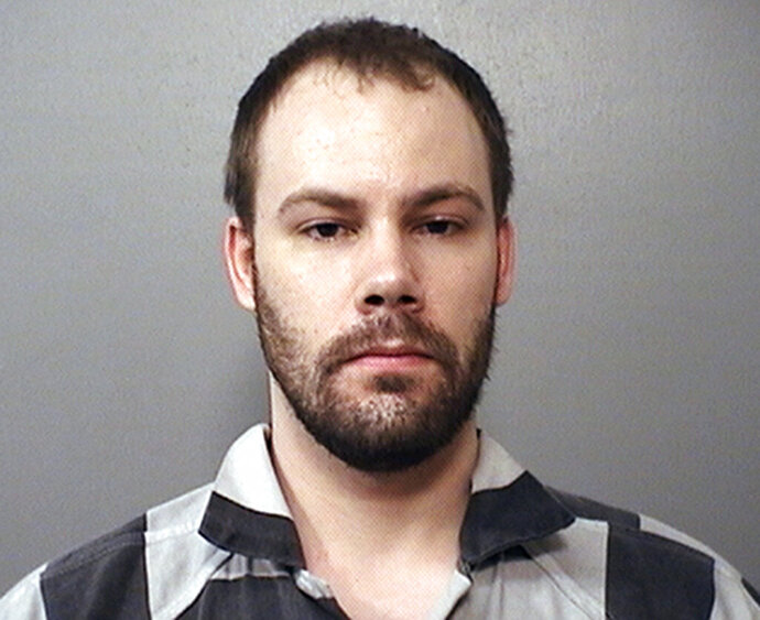 FILE - This file photo provided by the Macon County Sheriff's Office in Decatur, Ill., shows Brendt Christensen. Andrea Christensen, the sister of former University of Illinois student Brendt Christensen who is convicted of killing a Chinese scholar, told a jury, Monday, July 15, 2019, deciding whether he should be executed that he was a
