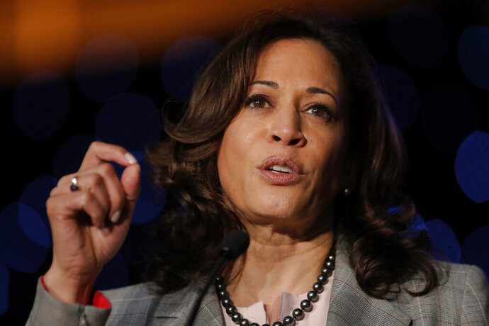 FILE - In this April 19, 2019, photo, Democratic presidential Candidate Sen. Kamala Harris, D-Calif., speaks at the Alpha Kappa Alpha Sorority South Central Regional Conference in New Orleans. (AP Photo/Gerald Herbert)