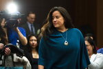 Canada's former Attorney General Jody Wilson-Raybould appears to testify in front of the House of Commons Justice Committee on Parliament Hill in Ottawa, Wednesday, Feb. 27, 2019. Wilson-Raybould said she experienced a consistent and sustained effort by many people in Prime Minister Justin Trudeau's government to inappropriately interfere in the prosecution of a Montreal engineering giant SNC-Lavalin and says it included