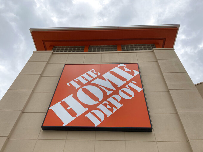 A Home Depot store is shown, Friday, May 14, 2021, in North Miami, Fla. Home Depot continues to fill the needs of the surging housing market during the pandemic, with fiscal first-quarter sales soaring and blowing past Wall Street's expectations.  (AP Photo/Wilfredo Lee)