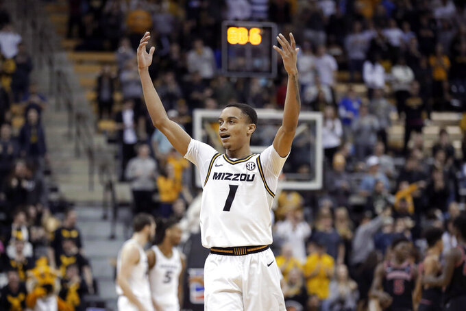 Missouri's Xavier Pinson celebrates after a Georgia turnover late in the second half of an NCAA college basketball game Tuesday, Jan. 28, 2020, in Columbia, Mo. Missouri won 72-69. (AP Photo/Jeff Roberson)