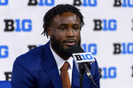 Minnesota running back Mohamed Ibrahim talks to reporters during an NCAA college football news conference at the Big Ten Conference media days, Thursday, July 22, 2021, at Lucas Oil Stadium in Indianapolis. (AP Photo/Doug McSchooler)
