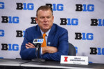 Illinois men's head coach Brad Underwood addresses the media during the first day of the Big Ten NCAA college basketball media days, Thursday, Oct. 7, 2021, in Indianapolis. (AP Photo/Doug McSchooler)