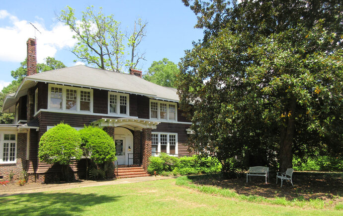 This April 28, 2018 photo shows the F. Scott and Zelda Fitzgerald Museum in Montgomery, Ala. Zelda was a Montgomery native and the couple met in 1918 at a Montgomery country club while F. Scott was stationed at a U.S. Army base. They lived in the house in 1931 and 1932. An upstairs apartment may be rented on Airbnb and is also used for writers' residencies. F. Scott Fitzgerald is best known for his novel,