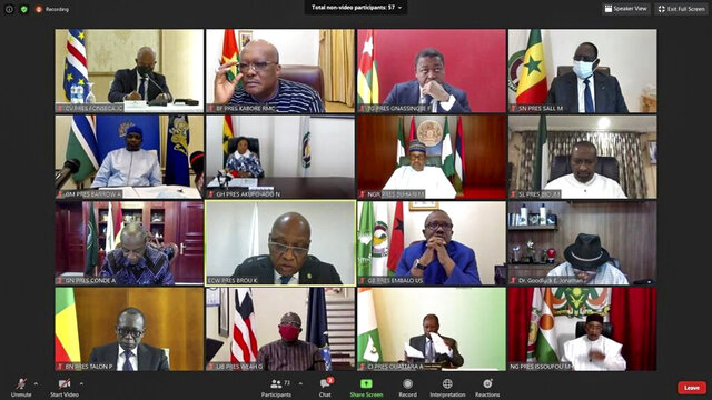 This screenshot released by the Economic Community of West African States (ECOWAS) shows West African leaders participating by video conference call in the Extraordinary Summit of the ECOWAS Authority of Heads of State and Government on the Socio-Political Situation in Mali Thursday, Aug. 20, 2020. Across Africa and around the world, leaders have strongly condemned this week's coup in Mali, calling for an immediate return to civilian rule and the release of ex-President Ibrahim Boubacar Keita and his prime minister, Boubou Cisse. (ECOWAS via AP)