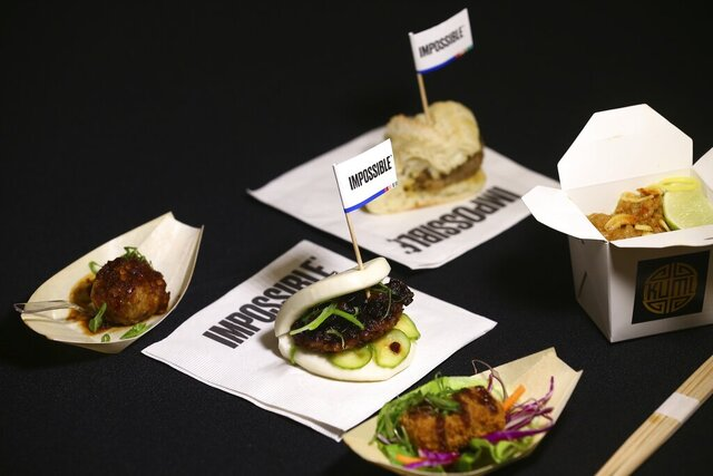A variety of Impossible Pork dishes from Impossible Foods, the California plant-based meat company, as the company unveils Impossible Pork and Impossible Sausage before the CES tech show Monday, Jan. 6, 2020, in Las Vegas. (AP Photo/Ross D. Franklin)