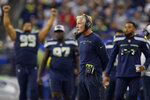 Seattle Seahawks head coach Pete Carroll watches from the sideline during the first half of an NFL football preseason game against the Los Angeles Chargers, Saturday, Aug. 28, 2021, in Seattle. (AP Photo/Elaine Thompson)