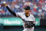 Miami Marlins starting pitcher Elieser Hernandez throws during the first inning of the team's baseball game against the Washington Nationals at Nationals Park, Friday, Aug. 30, 2019, in Washington. (AP Photo/Alex Brandon)
