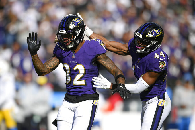 Baltimore Ravens free safety DeShon Elliott (32) and cornerback Marlon Humphrey (44) react after breaking up a pass from Los Angeles Chargers quarterback Justin Herbert, not visible, during the second half of an NFL football game, Sunday, Oct. 17, 2021, in Baltimore. (AP Photo/Nick Wass)