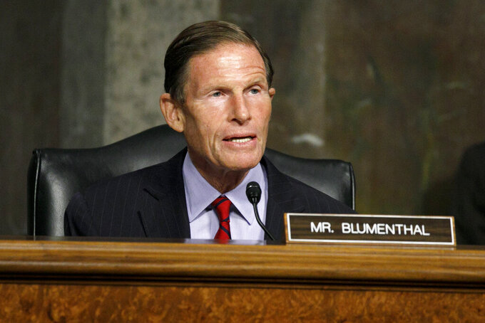 FILE - Sen. Richard Blumenthal, D-Conn. speaks during a Senate Judiciary Commitee hearing to examine protecting the integrity of college athletics, on Capitol Hill in Washington, in this July 22, 2020, file photo. Back in January, two Democratic senators introduced federal legislation called the College Athlete Bill of Rights. Among a long list of reforms, there was one item that jumped out as a potential game-changer to college sports: Schools would be required to share 50% of their profit with athletes from revenue-generating sports after accounting for cost of scholarships. (AP Photo/Jacquelyn Martin, File)