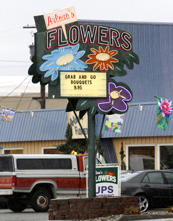 FILE - This March, 6, 2013 file photo shows Arlene's Flowers on Lee Boulevard in Richland, Wash. The Washington Supreme Court on Thursday, June 6, 2019, ruled state courts did not act with religious animus when they ruled that the Richland florist broke the state's anti-discrimination law by refusing on religious grounds to provide flowers for the wedding of a gay couple. (Bob Brawdy/The Tri-City Herald via AP, File)