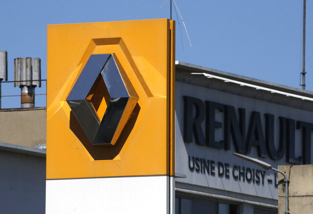FILE - In this file photo dated  Friday, May 29, 2020, the Renault plant is pictured in Choisy-le-Roi, outside Paris, France.  French carmaker Renault reported Thursday July 30, 2020, a massive loss of 7.4 billion euros (dollars 8.5 billion) in the first half of the year as the collapse in global auto sales due to the coronavirus global pandemic worsened troubles already brewing at the manufacturer. (AP Photo/Christophe Ena, FILE)