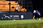 Britain's Justin Rose on the green of the 18th hole during the second day of the Golf Italian Open 2019, in Rome, Friday, Oct. 11, 2019. (Giorgio Maiozzi/ANSA via AP)
