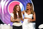 NFL Super Bowl 54 football game halftime performer Jennifer Lopez and Shakira pose for a picture at a news conference Thursday, Jan. 30, 2020, in Miami. (AP Photo/Morry Gash)