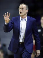 Oklahoma head coach Lon Kruger calls a play during the first half of an NCAA college basketball game against Kansas State in Manhattan, Kan., Saturday, March 9, 2019. (AP Photo/Orlin Wagner)
