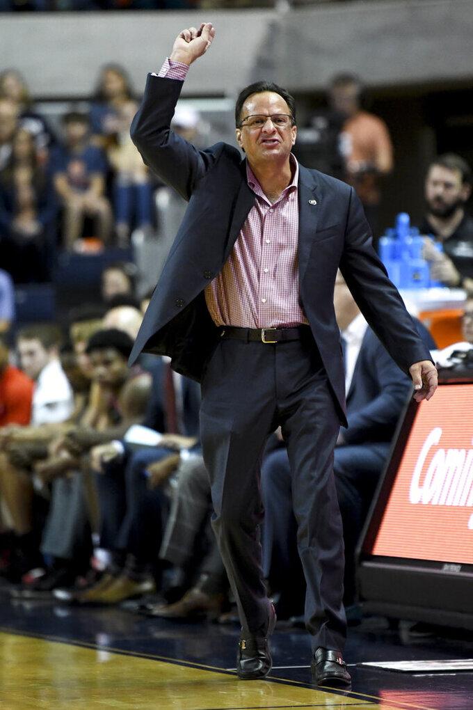 Georgia head coach Tom Crean reacts to a play during the first half of an NCAA college basketball game against Auburn, Saturday, Jan. 11 2020, in Auburn, Ala. (AP Photo/Julie Bennett)