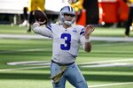 Dallas Cowboys quarterback Garrett Gilbert (3) throws a pass in the first half of an NFL football game against the Pittsburgh Steelers in Arlington, Texas, Sunday, Nov. 8, 2020. (AP Photo/Ron Jenkins)