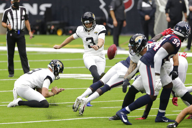 Jacksonville Jaguars kicker Stephen Hauschka (3) misses a field goal attempts against the Houston Texans during the first half of an NFL football game Sunday, Oct. 11, 2020, in Houston. (AP Photo/Michael Wyke)